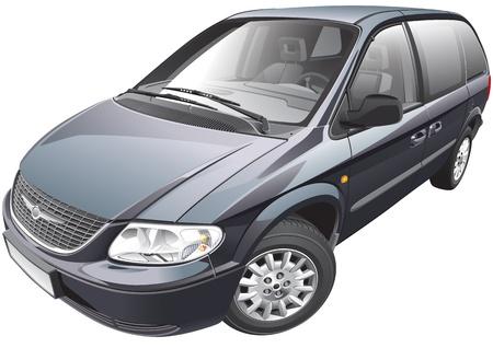 minivan: Detail vector image of American minivan Illustration