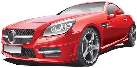 course de voiture: vecteur d'image d�taill�e de roadster compact rouge europ�enne Illustration