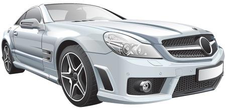 Detail vector afbeelding van Europese witte luxe roadster, geïsoleerd op witte achtergrond Stock Illustratie