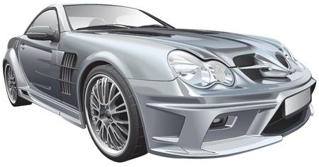 op maat: Detail vector afbeelding van zilveren aangepaste compacte roadster, geïsoleerd op witte achtergrond