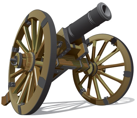 cannon: typical field gun of times of American Civil War, isolated on white background