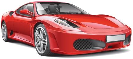 흰색 배경에 고립 된 빨간색 이탈리아어 슈퍼카, 일러스트
