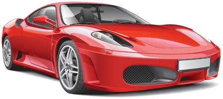 red Italian supercar, isolated on white background Illustration