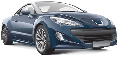 auto illustratie: Franse compacte sportwagen, geïsoleerd op witte achtergrond Stock Illustratie