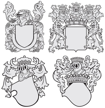 image of four medieval coats of arms, executed in woodcut style, isolated on white background Vector