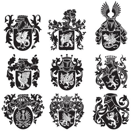 黒中世紋章シルエットは、白い背景で隔離の木版画のスタイルで実行のイメージ