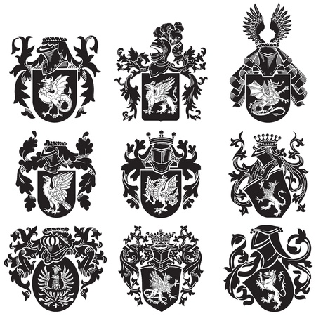 armorial: image of black medieval heraldic silhouettes, executed in woodcut style, isolated on white background