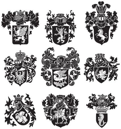 hanedan arması: woodcut üslupta siyah ortaçağ hanedan siluetleri, görüntü, beyaz arka plan üzerinde izole Çizim