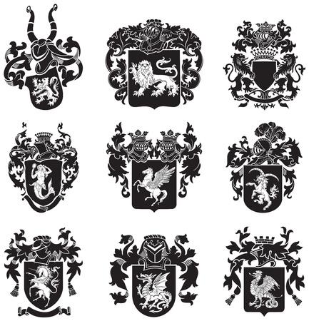 beeld van de zwarte middeleeuwse heraldische silhouetten, uitgevoerd in houtsnede stijl, geïsoleerd op witte achtergrond Stock Illustratie
