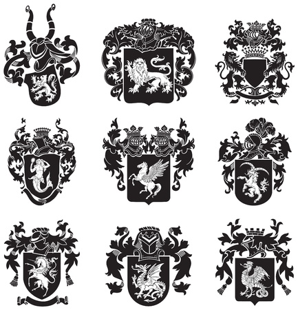 mantle: image of black medieval heraldic silhouettes, executed in woodcut style, isolated on white background