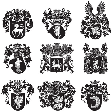 griffin: image of black medieval heraldic silhouettes, executed in woodcut style, isolated on white background