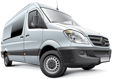 Detail vector image of Germany full-size van, isolated on white .File contains gradients, blends and transparency  No strokes  Easily edit  file is divided into logical layers and groups