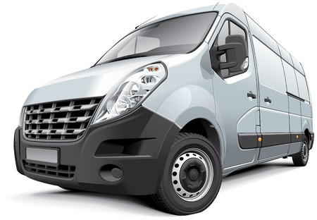 Detail vector image of French medium-size van, isolated on white .File contains gradients, blends and transparency  No strokes  Easily edit  file is divided into logical layers and groups