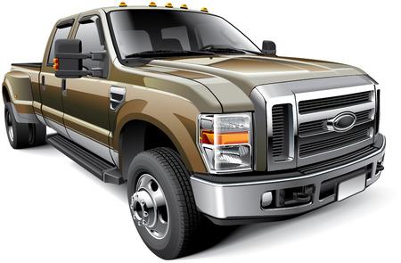 アメリカン フルサイズ ピックアップ トラック、白い背景で隔離の詳細ベクトル画像