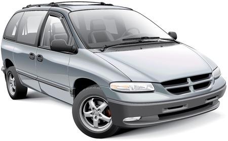 minivan: Detail image of American minivan, isolated on white background Illustration