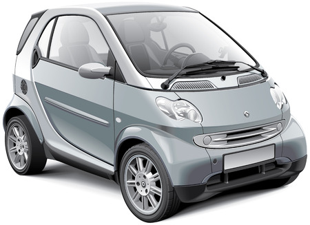 Detail image of modern subcompact car, isolated on white background Illustration