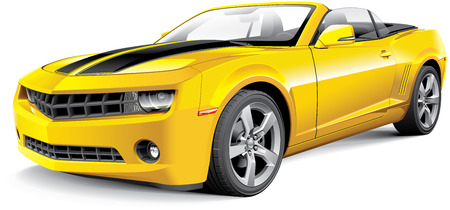 Detail image of American muscle car with black racing stripes and open roof, isolated on white background