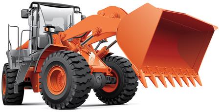 Gedetailleerd beeld van oranje grote front-end loader, geïsoleerd op witte achtergrond