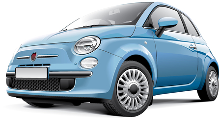 Detail image of Italian city car, isolated on white background Illustration