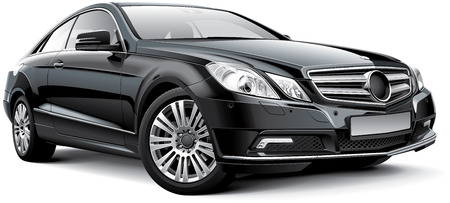 Detail beeld van de zwarte Duitsland luxe coupe, geïsoleerd op een witte achtergrond