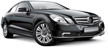 coupe: Detail image of black Germany luxury coupe, isolated on white background Illustration