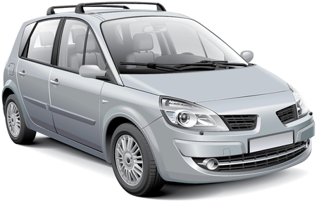 Detail vector image of silver French compact MPV, isolated on white background. File contains gradients, blends and transparency. No strokes. Easily edit: file is divided into logical layers and groups.