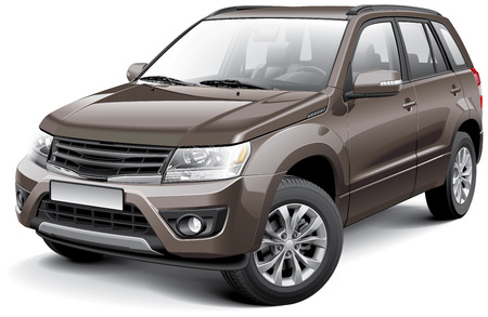 Detailed vector image of Japanese compact crossover, isolated on white background. File contains gradients, blends and transparency. No strokes. Easily edit: file is divided into logical layers and groups. Vector