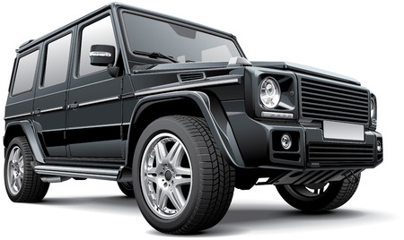 黒ドイツ フルサイズ SUV、白い背景で隔離の詳細ベクトル画像。ファイルには、グラデーション、ブレンド、透明度が含まれています。なしストロー