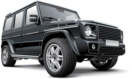 Detail vector afbeelding van zwarte Duitsland full-size SUV, op een witte achtergrond. Bestand bevat gradiënten, mengsels en transparantie. Nr beroertes. Gemakkelijk te bewerken: bestand is verdeeld in logische lagen en groepen.