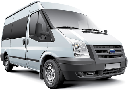 Detail vector image of European passenger van, isolated on white background. File contains gradients, blends and transparency. No strokes. Easily edit: file is divided into logical layers and groups. Vector