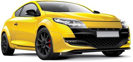 auto illustratie: Detail beeld van de gele Franse hot hatch, geïsoleerd op een witte achtergrond. Stock Illustratie