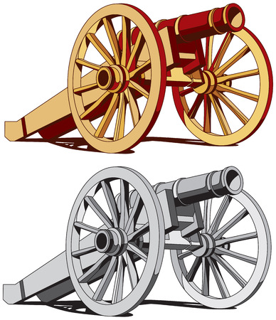 cannon: Vector image of typical field gun of times of American Civil War, isolated on white background. Executed in two color variant. No strokes, gradients, blends and transparency. Easily edit: file is divided into logical layers and groups.