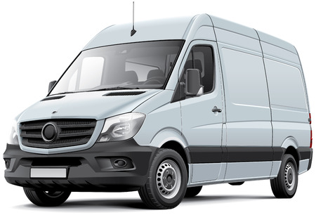 minivan: High quality vector image of European delivery van, isolated on white background. File contains gradients, blends and transparency. No strokes. Easily edit: file is divided into logical layers and groups.