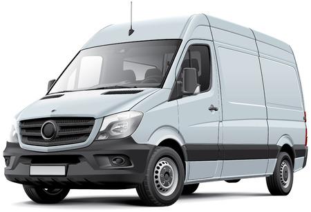 Image de haute qualité de vecteur de camionnette de livraison européenne, isolé sur fond blanc. Fichier contient des dégradés, des mélanges et de la transparence. Pas de coups. Facilement modifier: fichier est divisé en couches et groupes logiques. Banque d'images - 35791048
