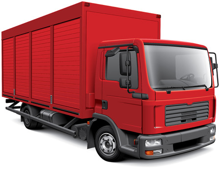 High quality vector image of red European box truck, isolated on white background. File contains gradients, blends and transparency. No strokes. Easily edit: file is divided into logical layers and groups.
