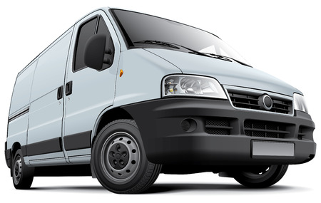 commercial activity: High quality vector image of European light commercial vehicle, isolated on white background. File contains gradients, blends and transparency. No strokes. Easily edit: file is divided into logical layers and groups. Illustration