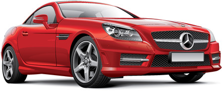 High quality photorealistic illustration of Germany hardtop convertible - Mercedes-Benz SLK, isolated on white background. File contains gradients, blends and transparency. No strokes. Easily edit: file is divided into logical layers and groups.