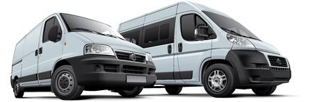 Hochwertige fotorealistische Darstellung von zwei europäischen Nutzfahrzeug, isoliert auf weißem Hintergrund.