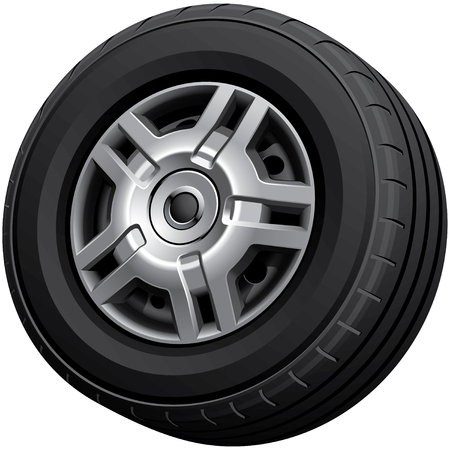High quality vector image of automotive wheel, isolated on white background. File contains gradients, blends and transparency. No strokes.