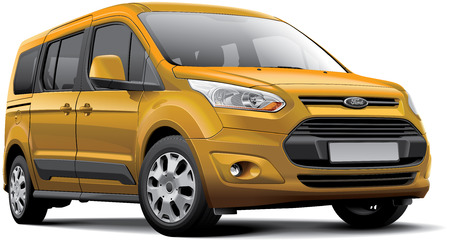 Detail vector image of American leisure activity vehicle - Ford Tourneo Connect, isolated on white background.
