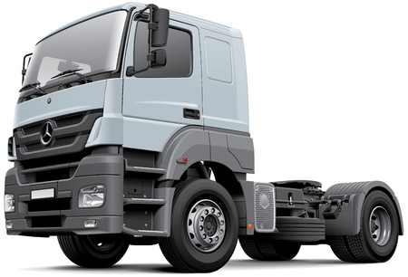 High quality vector image of European commercial freight vehicle - Mercedes-Benz Axor, isolated on white background.