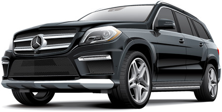 suv: Detail vector image of black Germany full-size luxury SUV - Mercedes-Benz GL 63 AMG, isolated on white background.