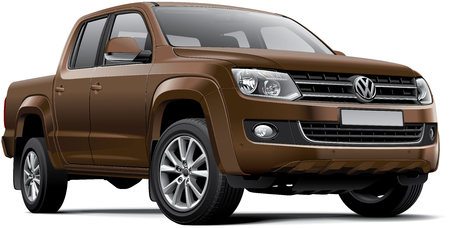 High quality photorealistic illustration of Germany mid-size pickup truck - Volkswagen Amarok, isolated on white background.