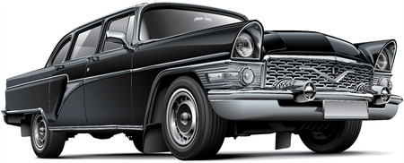 High quality vector image of Soviet luxury car, isolated on white background. File contains gradients, blends and transparency. No strokes. Easily edit: file is divided into logical layers and groups. NOTE: palette contains progressive black. Illustration