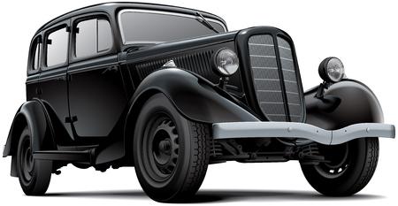 흰색 배경에 고립 된 구식 소련 여객 자동차의 고품질 벡터 이미지. 파일에는 그라디언트, 혼합 및 투명성이 포함되어 있습니다. 어떤 스트로크 없습니
