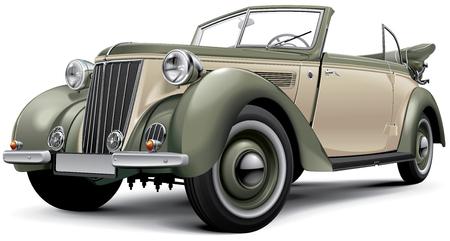 Hochwertige Vektor-Bild der europäischen Vorkriegs-Luxus-Cabrio mit offenem Dach, isoliert auf weißem Hintergrund. Die Datei enthält Steigungen, Mischungen und Transparenz. Keine Schlaganfällen. Leicht zu bearbeiten: Datei ist in logische Schichten und Gruppen unterteilt. Bitte beachten Sie, dass kein Standard-Bild - 47067377