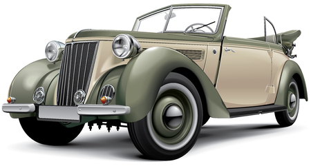 High quality vector image of European prewar luxury convertible with open roof, isolated on white background. File contains gradients, blends and transparency. No strokes. Easily edit: file is divided into logical layers and groups. Please note that not a