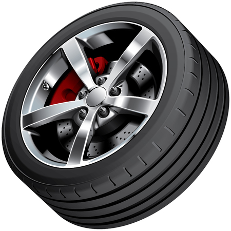 blends: High quality vector image of sports cars wheel, isolated on white background. File contains gradients, blends and transparency. No strokes.