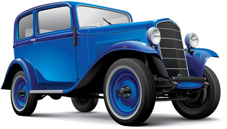 High quality vector image of blue European prewar compact automobile, isolated on white background. File contains gradients, blends and transparency. No strokes. Easily edit: file is divided into logical layers and groups. Please note that not all vector  Ilustração