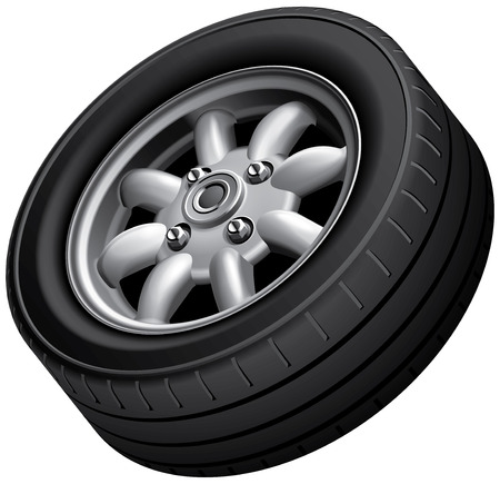 High quality vector image of compact cars wheel, isolated on white background. File contains gradients, blends and transparency. No strokes.